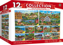 Folk Collection - Folk Art Scenes 12 Pack Jigsaw Puzzles