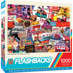 Flashbacks Quick Stop Diner 1000 Piece Jigsaw Puzzle