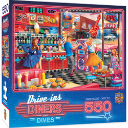 Drive-Ins, Diners, and Dives - Good Times Diner - 550 Piece Jigsaw Puzzle