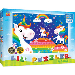 Lil Puzzler Right Fit - Rainbow Unicorns 24 Piece Jigsaw Puzzle
