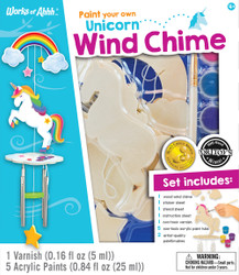 Unicorn Wind Chime Wood Paint Kit
