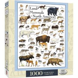 Poster Art - Land Mammals of North America 1000 Piece Jigsaw Puzzle