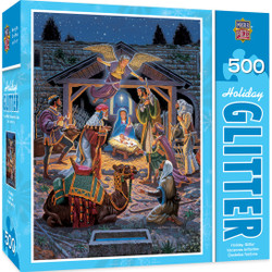 Holiday Glitter Holy Night - Nativity Scene 500 Piece Jigsaw Puzzle