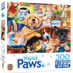 Playful Paws Home Wanted - Large 300 Piece EZGrip Jigsaw Puzzle by Jenny Newland