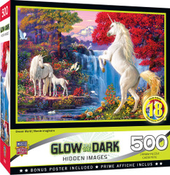 Hidden Images Glow in the Dark Dream World - Unicorns 500 Piece Jigsaw Puzzle