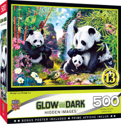 Hidden Images Glow in the Dark Shangri La - Panda Bears 500 Piece Jigsaw Puzzle