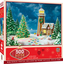 Holiday Gingerbread Lighthouse  500 Piece Glitter Jigsaw Puzzle