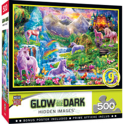 Hidden Image Glow in the Dark - Unicorns Retreat 500 Piece Jigsaw Puzzle