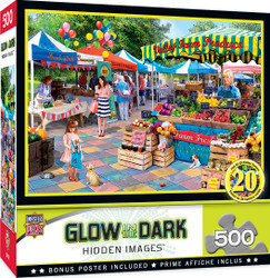 Hidden Image Glow in the Dark - Corner Market - 500 Piece Jigsaw Puzzle