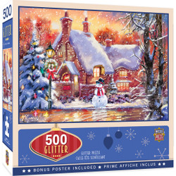 Holiday - Snowman Cottage 500 Piece Glitter Jigsaw Puzzle