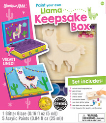 Llama Keepsake Box Wood Paint Kit