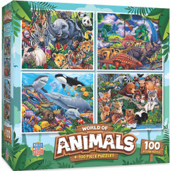 World of Animals 4 Pack 100 Piece Puzzles
