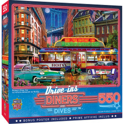 Drive-Ins, Diners and Dives - Rickey's Diner Car 550 Piece Puzzle