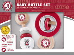 Alabama Real Wood Baby Rattles (2-Pack)