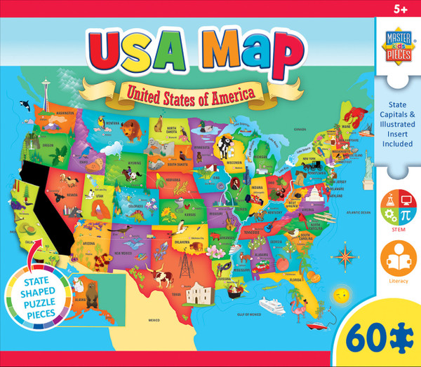 Explorer Kids - USA Map - 60 Piece Kids Puzzle on