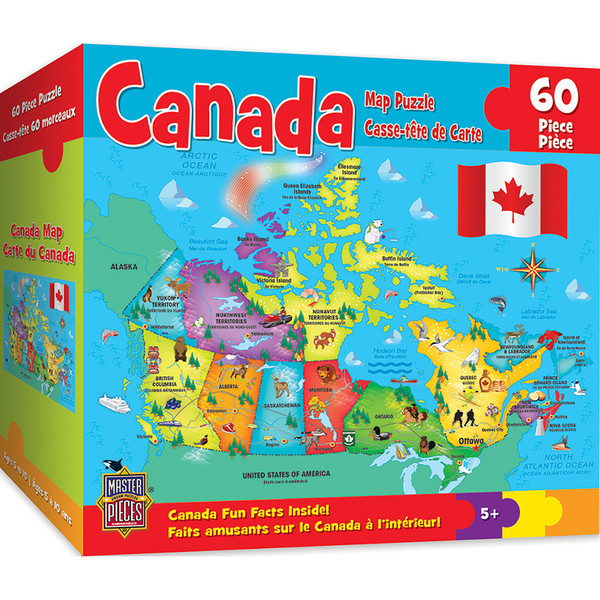 Explorer Kids - Canadian Map - 60 Piece Kids Puzzle on