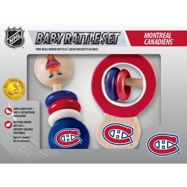 Montreal Canadiens Real Wood Baby Rattles (2-Pack)