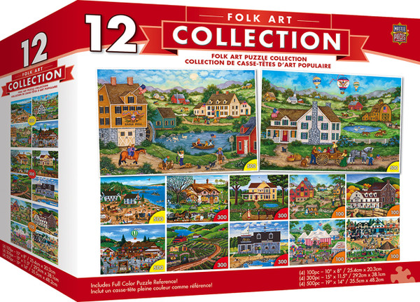 Bonnie White Collection - Folk Art Scenes 12 Pack Jigsaw Puzzles