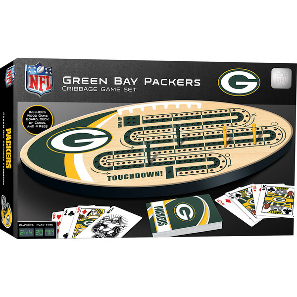 Green Bay Packers Football Two Track Cribbage Board