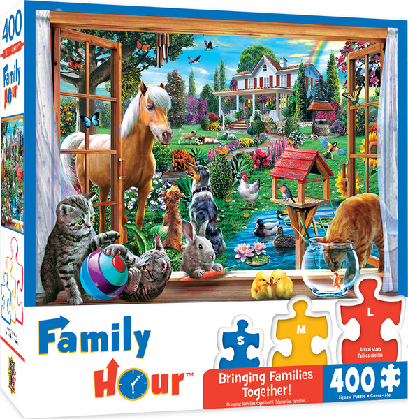 Family Hour Peeking Through Large 400 Piece EZGrip Jigsaw Puzzle by Adrian Chesterman