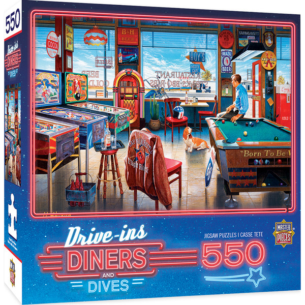 Drive-Ins, Diners, and Dives - Pockets Pool & Pub - 550 Piece Jigsaw Puzzle