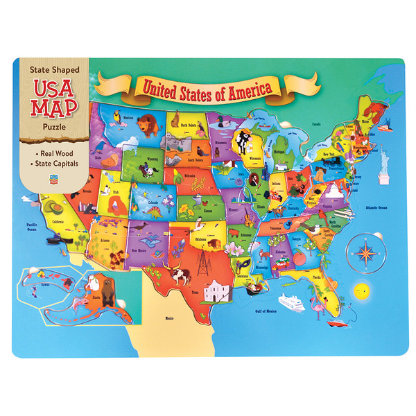 Wood USA Map - 44 Wood Piece Puzzle