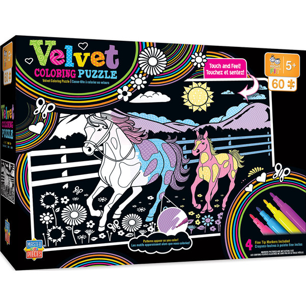 Velvet Coloring of Horse and Pony - 60 PieceKdis Puzzle