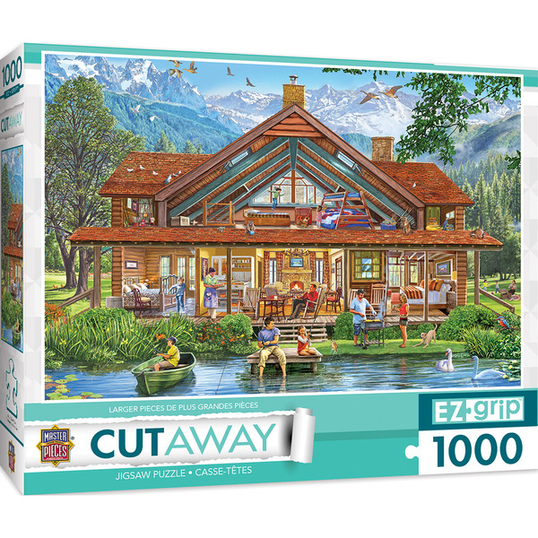 1000pc EZGrip Cut-Aways Camping Lodge Large 1000 Piece Jigsaw Puzzle