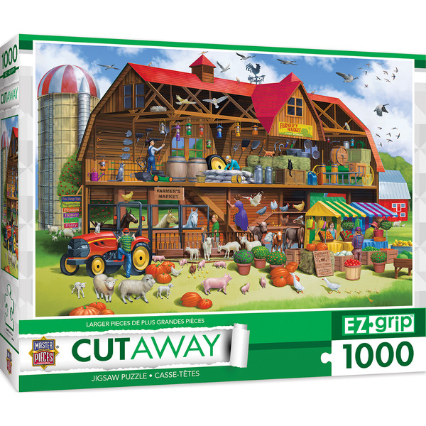 1000pc EZGrip Cut-Aways Family Barn Large 1000 Piece Jigsaw Puzzle