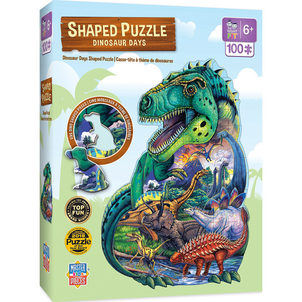 Shaped Right Fit - Dinosaur Days 100 Piece Kids Puzzle