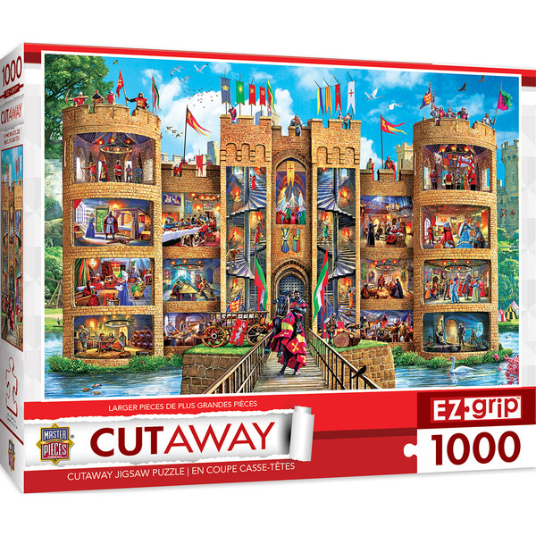 1000 EZGrip Cut-Aways Medieval Castle Large 1000 Piece Jigsaw Puzzle