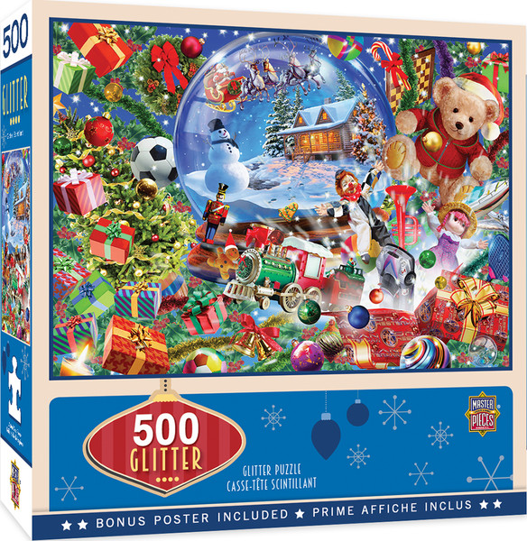 Holiday Snow Globe Dreams 500 Piece Glitter Jigsaw Puzzle