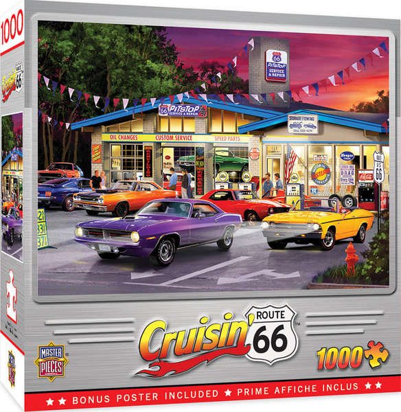 Cruisin' Route 66 - Route 66 Pitstop - 1000 Piece Jigsaw Puzzle