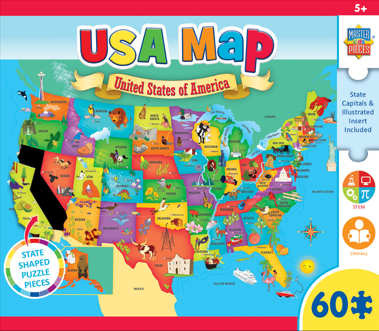 Usa Map For Kid Explorer Kids   USA Map   60 Piece Kids Puzzle