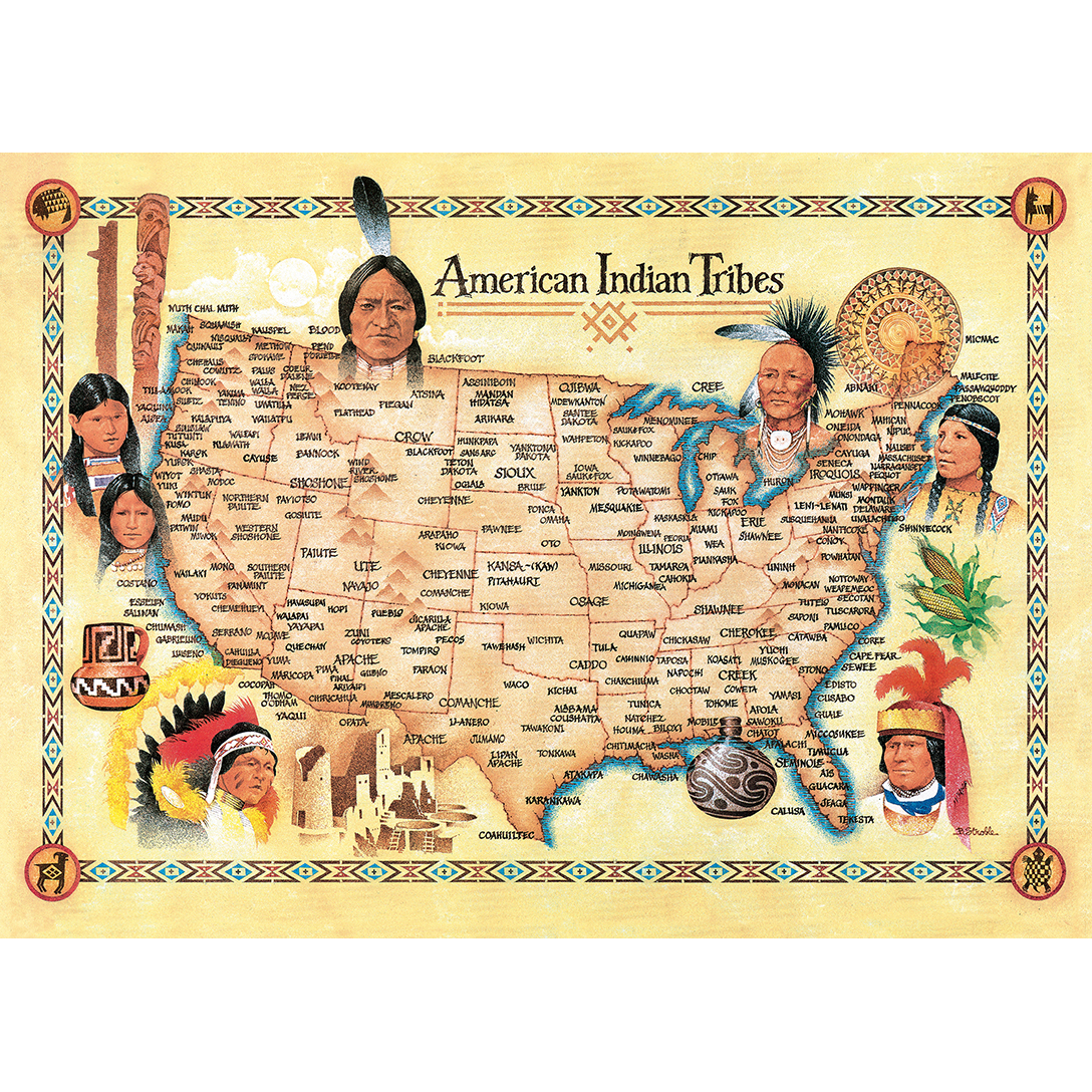 Tribal Spirit American Indian Tribes Settlement Map 1000 Piece - Indian-tribes-of-the-us-map