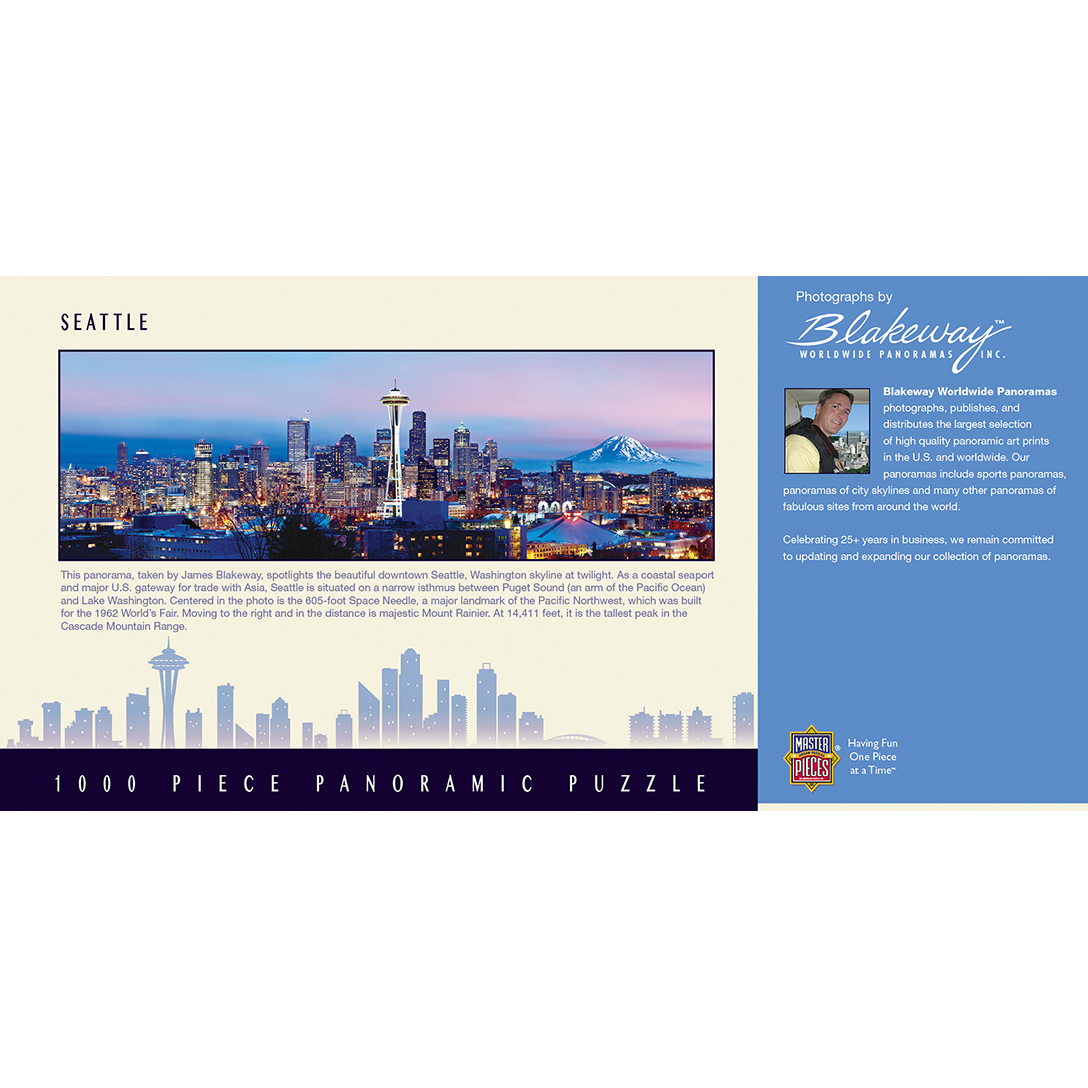 Cityscapes - Seattle 1000 Piece Panoramic Jigsaw Puzzle