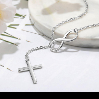 Stunning Infinity & Cross Silver Necklace