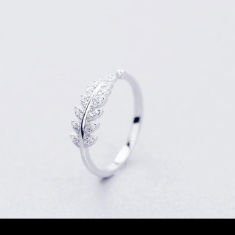 Sweet Branch Leaf Silver Ring