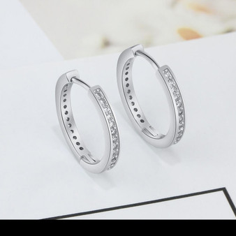 Silver Earrings with CZ Crystals - Round Hoop Design