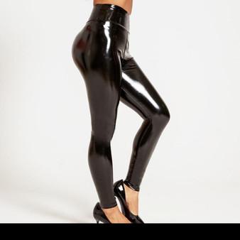 Daring Black Leather Leggings -Ankle Length Design