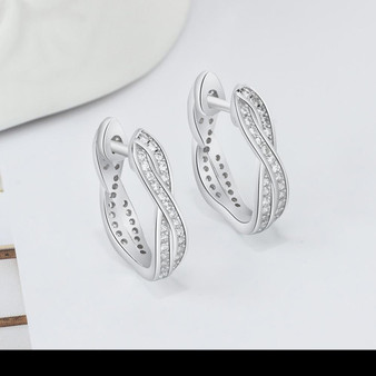 Silver Hoop Earrings with CZ Crystals - Twisted Design