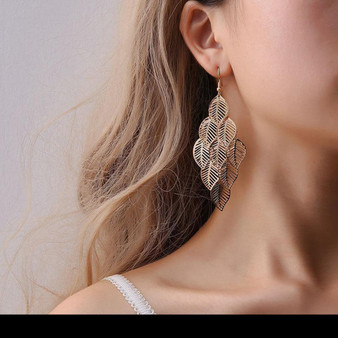 Drop Earrings - Hollow Leaf Design