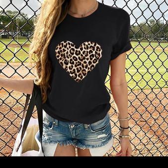 Leopard Heart Print T-Shirt