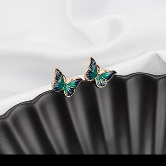 Green Enamel Butterfly Earrings with Gold Decorations