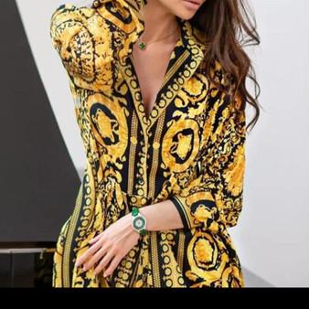 Short V Neck Mini Dress - Baroque Print
