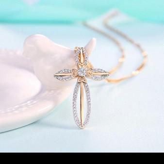 Gold Cross Flower Necklace - Elegant Design