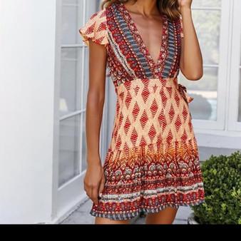 Boho Style V Neck Dress - Summer of Love Design