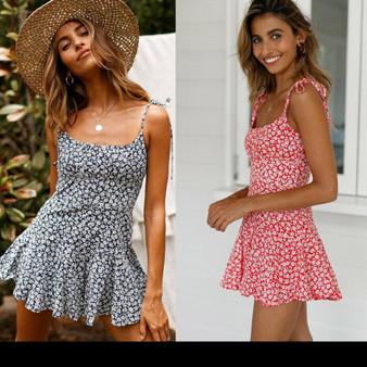 Flowers Print Jumpsuit Mini-Dress - Vintage Design