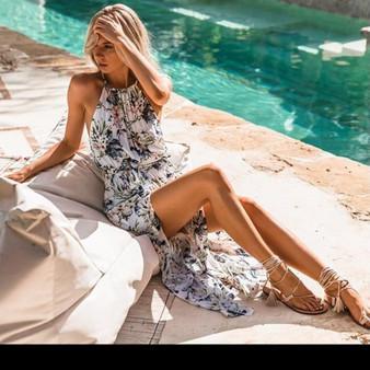 Stunning Split Thigh Dress - Flower Pattern on White