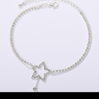 Rhinestone Pentagram Ankle Bracelet